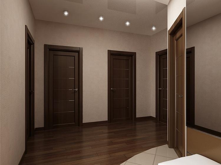 Ремонт коридора в коричневых тонах.