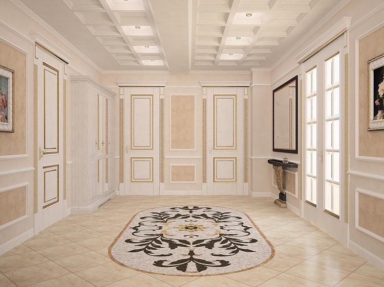 Ремонт коридора в светлых тонах.